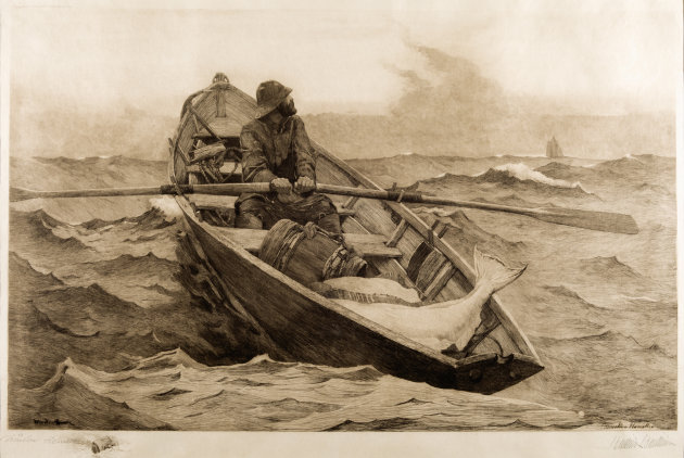 "This image provided by the Portland, Maine, Museum of Art shows Winslow Homer's etching on paper ""The Fog Warning,"" created in 1887 at his seaside home in Scarborough, Maine. The home where Homer lived and worked from 1883 until his death in 1910, has been restored by the Portland Museum of Art. It will be open for public tours in late September 2012. (AP Photo/Portland Museum of Art)"