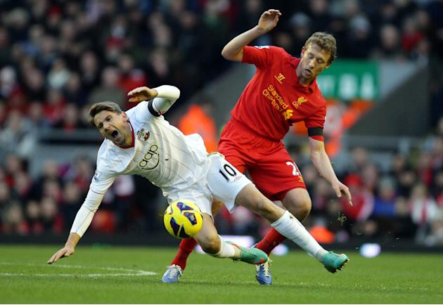 Fit-again Lucas Leiva, right, made his return to the Liverpool first team against Southampton