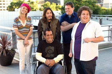 Ashley Scott , Justin Long , Peter Dante , Kevin Heffernan and Jonah Hill in Paramount Pictures' Strange Wilderness
