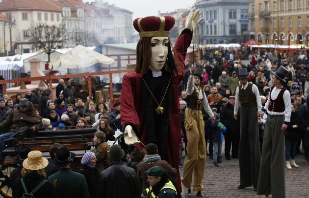 The statue St. Casimir the patron saint of Lithuania is seen during the Theatrical carnival procession during the traditional Kaziukas fair, a large annual folk arts and craft fair in Vilnius, Lithuan