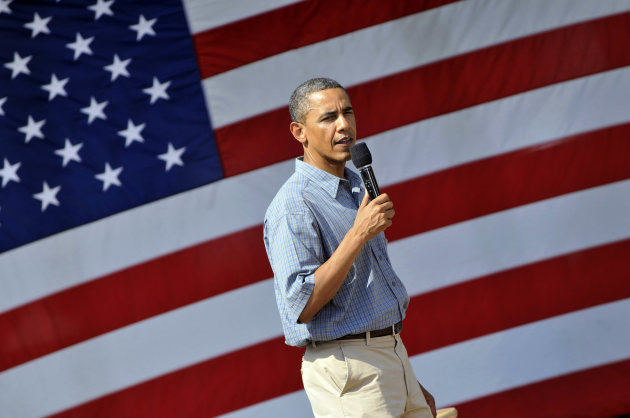 President Barack Obama speaks at an ice cream social at Washington Park in Sandusky, Ohio, Thursday, July 5, 2012. Obama is on a two-day bus trip through Ohio and Pennsylvania. (AP Photo/David Richard)