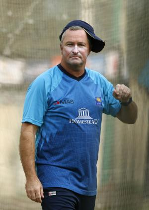 Sri Lanka's cricket team coach Paul Farbrace attends a training session ahead of their ICC Twenty20 Cricket World Cup semi-final match against West Indies in Dhaka, Bangladesh, Wednesday, April 2, 2014. (AP Photo/Aijaz Rahi)