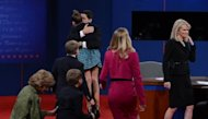Republican vice presidential candidate Paul Ryan greets family following his debate with US Vice President Joe Biden at the Norton Center at Centre College in Danville, Kentucky, October 10. Biden rained rhetorical punches on Ryan in a fiery vice presidential debate, desperate to make up for his boss Barack Obama's lifeless display last week