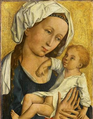 "The undated handout shows a reproduction provided Tuesday, March 5, 2013 by the Staatsgalerie Stuttgart of the painting ""Virgin with Child"".  The Stuttgart museum has returned a 600-year-old painting to the estate of Jewish art dealer Max Stern, who was forced to sell his collection before fleeing Nazi Germany. The oil painting ""The Virgin with Child,"" attributed to the Master of Flemaile — an unidentified Flemish artist from the early 1400s — was turned over by Staatsgalerie Stuttgart at a ceremony Tuesday at the Canadian Embassy in Berlin.  (AP Photo/dpa, Staatsgalerie Stuttgart)"
