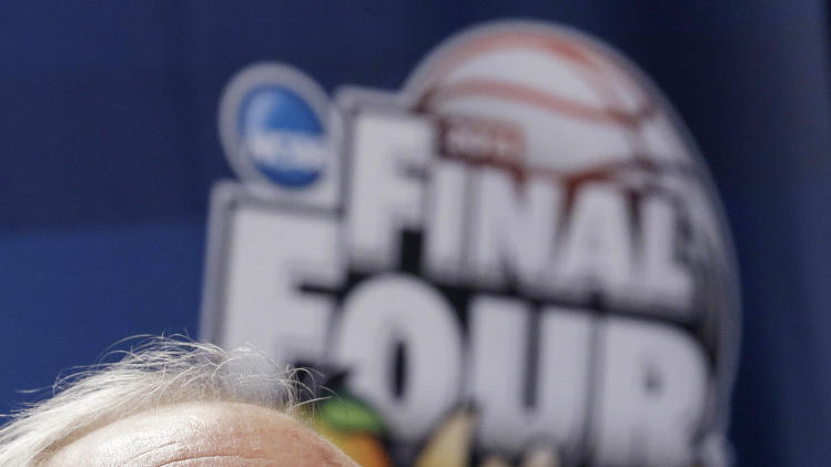 Syracuse head coach Jim Boeheim speaks to the media during a news conference at the Final Four of the NCAA college basketball tournament, Thursday, April 4, 2013, in Atlanta. Syracuse plays Michigan in a national semifinal on Saturday. (AP Photo/John Bazemore)