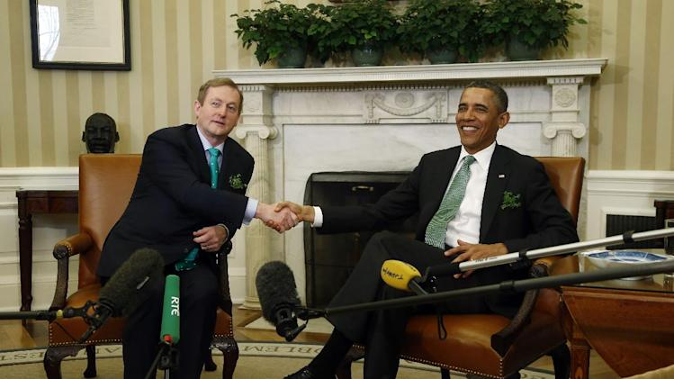 President Barack Obama meets with Irish Prime Minister Enda Kenny in the Oval Office of the White House in Washington, Tuesday, March 19, 2013. (AP Photo/Charles Dharapak)