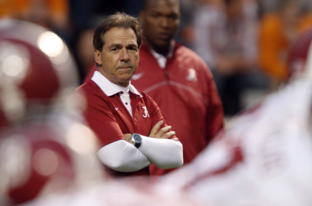 Alabama head coach Nick Saban watches his team warm up before an NCAA college football game against Tennessee, Saturday, Oct. 20, 2012, in Knoxville, Tenn. (AP Photo/Wade Payne)