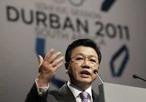 Special ambassador Kim speaks during the Pyeongchang bid city presentation to the 123rd IOC session in Durban