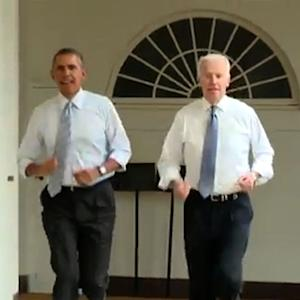 "Obama, Biden take lap around the White House for the ""Let's Move"" campaign"