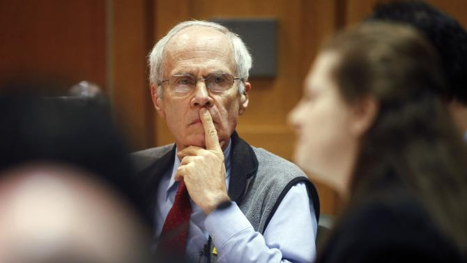 Wisconsin Secretary of State Doug La Follette listens to Assistant Attorney General Maria Lazar make her opening arguments at a hearing in front of Dane County Circuit Judge Maryann Sumi at the Dane County Courthouse in Madison, Wis., Tuesday, March 29, 2011. With Republican Gov. Scott Walker's administration insisting a new law eliminating most of state workers' collective bargaining rights had gone into effect and other state and municipal leaders disputing that, many were looking to today's court hearing for some kind of clarity. (AP Photo/Michael P. King, Pool)