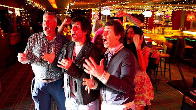 """This film image released by Columbia Pictures shows, from left, Rex Ryan, Adam Sandler, Andy Samberg and Ciara in a scene from """"That's My Boy."""" (AP Photo/Columbia Pictures - Sony, Tracy Bennett)"""