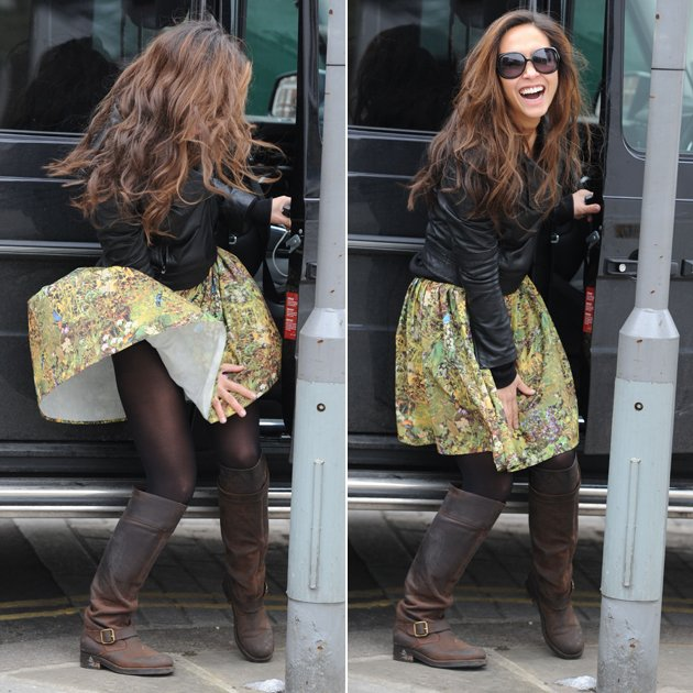 malfunction as a gust of wind blows up her skirt in front of the paps