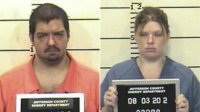 This combo made from undated photos released by the Jefferson County Sheriff's Department shows James Taylor, left, and his wife Samantha. The couple on Tuesday Jan. 22, 2013 each pleaded guilty to two counts of child endangerment and one count of unlawful restraint after punishing their three children by forcing them into plastic storage boxes sealed with duct tape and only a square cut in the top for air. (AP Photo/Jefferson County Sheriff Department)