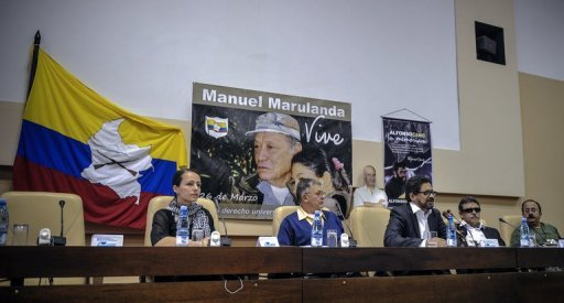 <p>Members of the Revolutionary Armed Forces of Colombia (FARC) delegation for peace talks with the Colombian government, (L-R) Tanja Nijmeijer, Rodrigo Granda, Ivan Marquez, Jesus Santrich and Andres Paris, hold a press conference in Havana, November 29. Colombia will resume peace talks with the FARC Wednesday amid rising tensions after government forces killed at least 20 rebels</p>