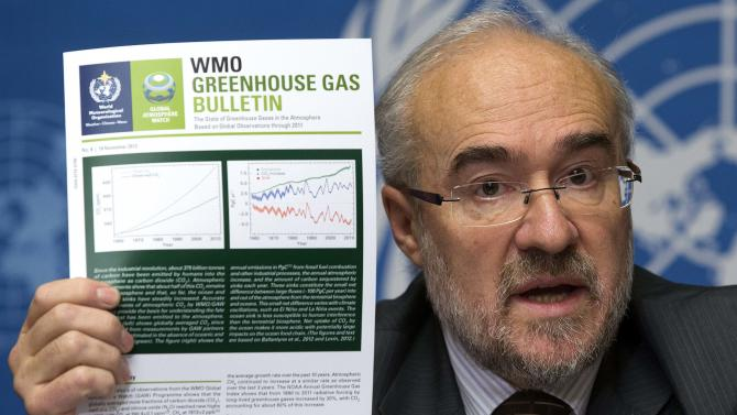 French Michel Jarraud, Secretary-General of World Meteorological Organization, WMO, informs the media about greenhouse gases in the atmosphere, during a press conference at the European headquarters of the United Nations in Geneva, Switzerland, Tuesday, Nov. 20, 2012. (AP Photo/Keystone/Salvatore Di Nolfi)