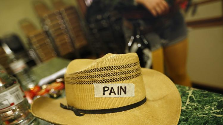 A hat is seen in the dressing room at the Chicago League of Lady Arm Wrestlers event in Chicago