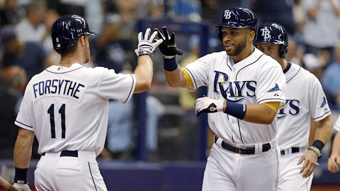 Tampa Bay Rays' James Loney, right, celebrates his home run with Logan Forsythe during the fourth inning of a baseball game against the Toronto Blue Jays on Friday, April 24, 2015, in St. Petersburg, Fla. (AP Photo/Mike Carlson)