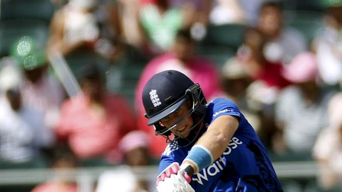 England's Joe Root plays a shot during the third One Day International cricket match against South Africa in Pretoria