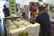 <p>Fruit and vegetable wholesalers handle melons and strawberries at the wholesale market in Lyon-Corbas, on July 5. The French government borrowed for the first time at negative rates on Monday, meaning that investors were willing in effect to pay to hold French debt as in Germany.</p>