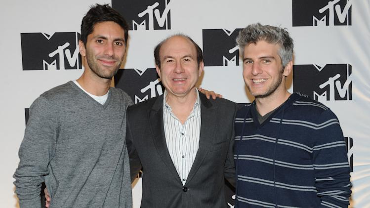 "IMAGE DISTRIBUTED FOR MTV - From left, Nev Schulman from ""Catfish: The TV Show"", Philippe Dauman President and CEO Viacom, Max Joseph from ""Catfish: The TV Show"" arriving at the 2013 MTV Upfront, on Thursday, April 25, 2013 at the Beacon Theater in New York. (Photo by Scott Gries/Invision/AP Images)"
