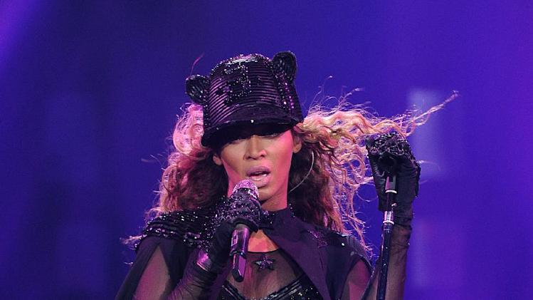 "IMAGE DISTRIBUTED FOR PARKWOOD ENTERTAINMENT - Singer Beyonce performs on her ""Mrs. Carter Show World Tour 2013"" at the Ziggo Dome on Monday, April 22, 2013 in Amsterdam. Beyonce is wearing a custom hand beaded one-piece by Givenchey. (Photo by Frank Micelotta/Invision for Parkwood Entertainment/AP Images)"