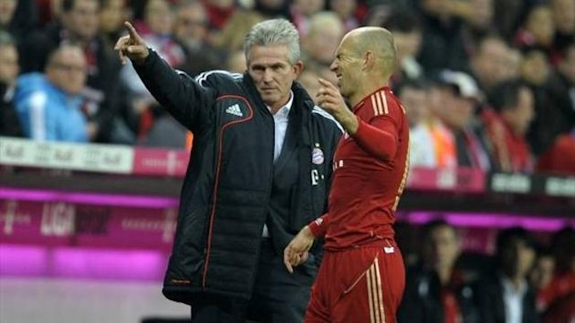 Bayern Munich winger Arjen Robben with coach Jupp Heynckes