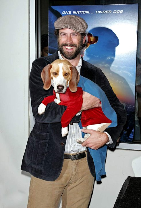 "Jason Lee with dog Leo (Shoeshine/Underdog)  arrive at the ""Underdog"" Premiere."