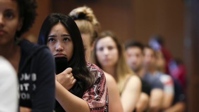 New students at San Diego State University watch a video on sexual consent