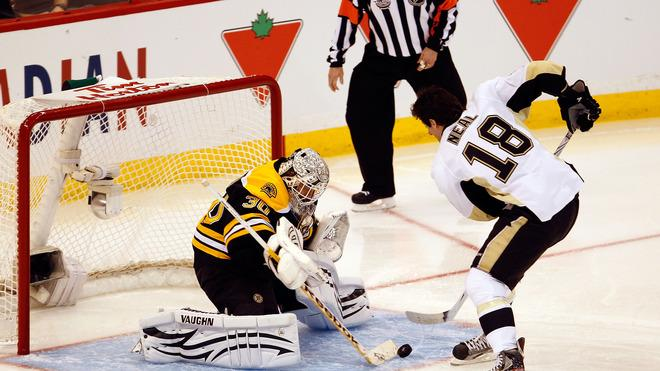 James Neal #18 Of The Pittsburgh Penguins And Team Alfredsson Takes A Shot On Tim Thomas #30 Of The Boston Bruins And Getty Images