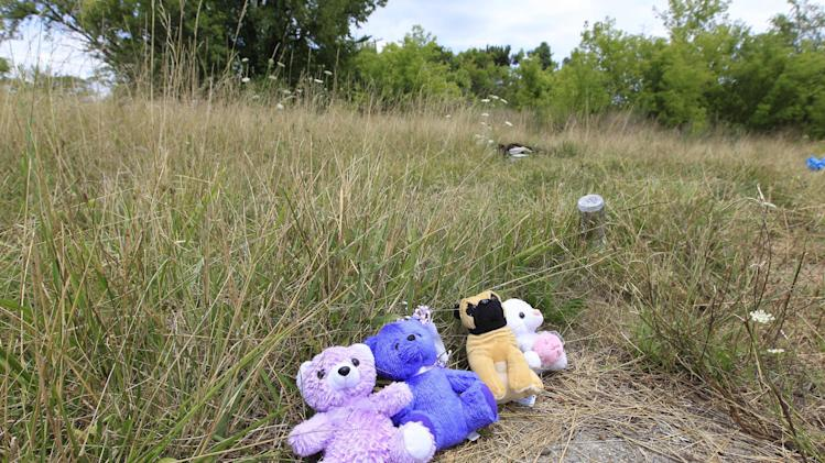 A July 31, 2012 photo shows a memorial to two killed teens whose decomposing bodies were found July 27 in a field in east Detroit. Abandoned lots, alleys and neglected parks in Detroit used to be a favorite destination for discarded tires and trash. But over the past few months they have become dumping grounds for the dead. At least seven bodies have been found in some of the most desolated haunts in a half-empty city. (AP Photo/Carlos Osorio)