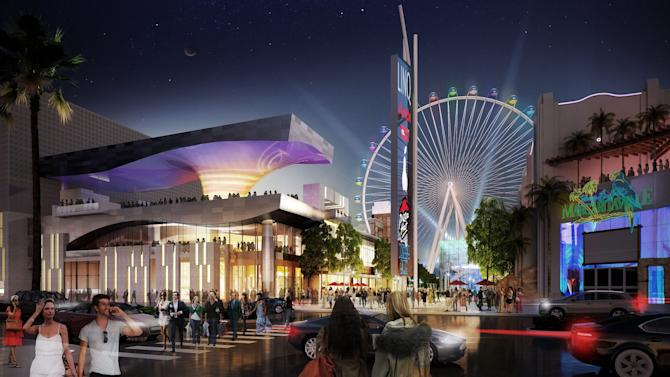 In this undated publicity image provided by Caesars Entertainment Corp. shows an artist's rendering of the $550 million Linq project in Las Vegas. Caesars Entertainment Corp. plans to open the outdoor promenade on the Las Vegas Strip in June 2013, linking its casinos on the east side of the boulevard with restaurants, bars and a 550-foot (167-meter) observation wheel. (AP Photo/Courtesy of Caesars Entertainment Corp.)
