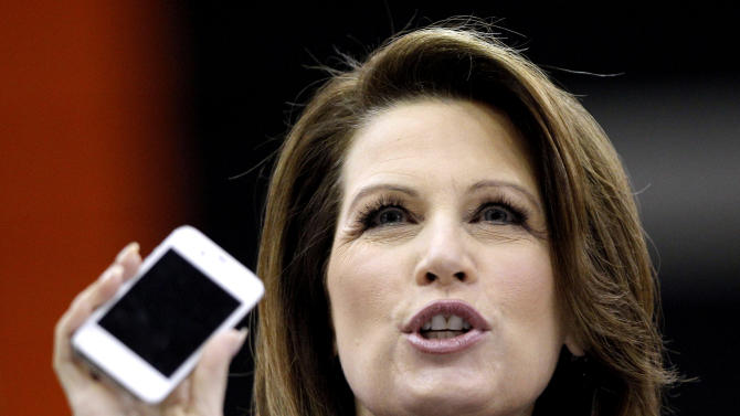 Republican presidential candidate, Rep. Michele Bachmann, R-Minn., speaks during a campaign stop at Valley High School, Tuesday, Jan. 3, 2012, in West Des Moines, Iowa. (AP Photo/Charlie Riedel)