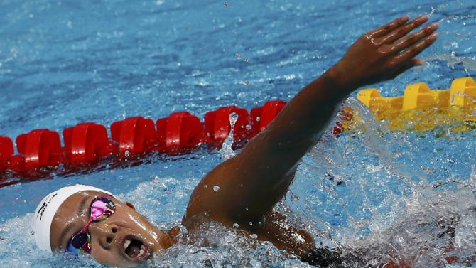Japan's Watanabe swims in the women's 200m individual medley heats at the Aquatics World Championships in Kazan