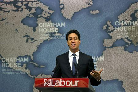 Britain's opposition Labour party leader Miliband addresses an audience during a campaign event in London