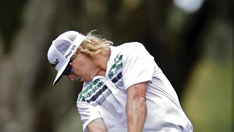 Charley Hoffman hits from the 15th tee during the first round of the RBC Heritage golf tournament in Hilton Head Island, S.C., Thursday, April 18, 2013. (AP Photo/Stephen Morton)