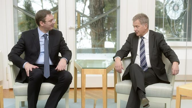Serbia's PM Vucic meets with Finland's President Niinisto in Helsinki