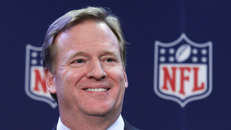 FILE - In this Dec. 12, 2012 file photo, NFL Commissioner Roger Goodell smiles during a news conference after the NFL owners meeting in Irving, Texas. Roger Goodell was paid $29.49 million by NFL owners in 2011, nearly triple his compensation from the previous year. Goodell earned $11.6 million in 2010. (AP Photo/LM Otero, File)