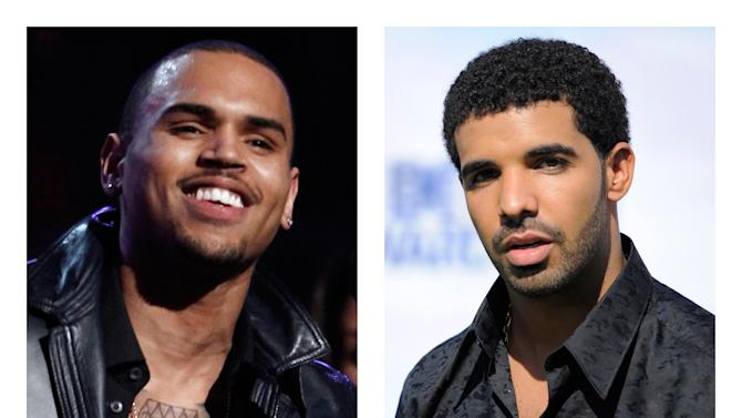 This combination of 2012 and 2011 file photos shows hip hop stars Chris Brown, left, and Drake. A New York City nightclub that was the site of a bottle-hurling brawl after a dispute between the entourages of singers Drake and Chris Brown has had its liquor license suspended. The State Liquor Authority suspended the license of W.i.P. and its adjacent Greenhouse during an emergency meeting Tuesday, June 26, 2012. (AP Photo/Matt Sayles, Chris Pizzello)