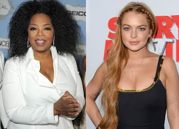 Oprah and Lindsay Lohan -- Getty Images