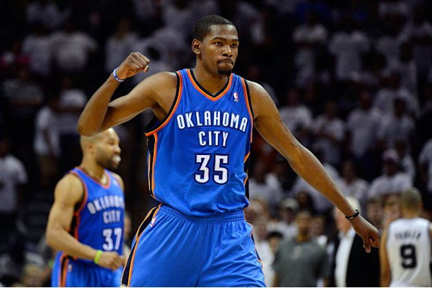   Kevin Durant #35 Of The Oklahoma City Thunder Celebrates Getty Images