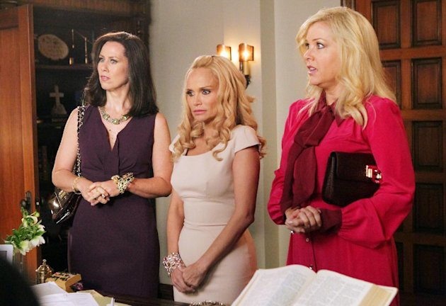 In this undated image released by ABC, from left, Miriam Shor, Kristin Chenoweth and Jennifer Aspen are shown in a scene from the comedy series &quot;GCB,&quot; airing Sundays at 10 p.m. EST on ABC. (AP Photo/ABC, Karen Neal)