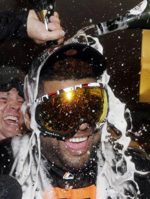 San Francisco Giants' Pablo Sandoval celebrates after Game 7 of baseball's National League championship series against the St. Louis Cardinals Monday, Oct. 22, 2012, in San Francisco. The Giants won 9-0 to win the series. (AP Photo/David J. Phillip)