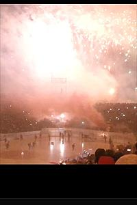 Fireworks at Swedish League hockey game