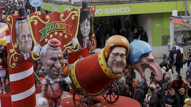 A float depicting Portuguese PM Costa with formers PM Passos Coelho and Deputy PM Portas is seen during the carnival parade in Torres Vedras, Portugal