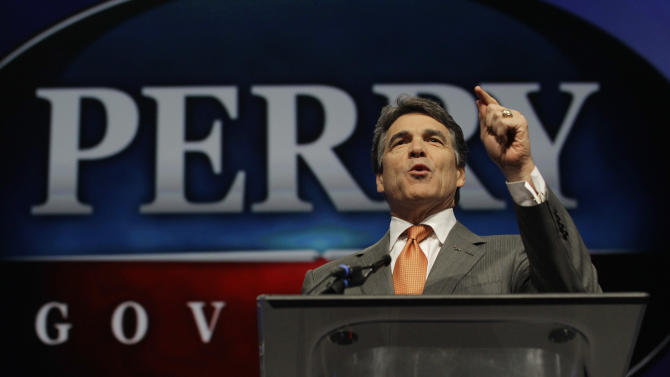 """FILE - In this June 7, 2012 photo, Texas Gov. Rick Perry speaks during the Texas Republican Convention in Fort Worth, Texas.  For Perry, saying """"no"""" to the federal health care law could also mean turning away coverage for up to 1.3 million people. (AP Photo/LM Otero, File)"""