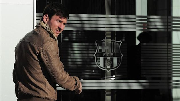 Barcelona's Argentinian forward Lionel Messi arrives at the Camp Nou stadium in Barcelona to sign a new contract (AFP)