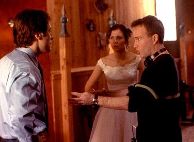 James Spader and Maggie Gyllenhaal with director Steven Shainberg on the set of Lions Gate's Secretary