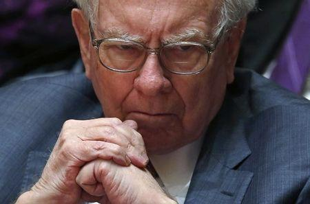 Financial investor Warren Buffett looks on during an announcement ceremony at Northwestern University in Evanston
