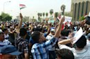 Protesters near Baghdad�s Firdus square on August 31, 2013 demonstrate against Iraqi lawmakers' lavish benefits