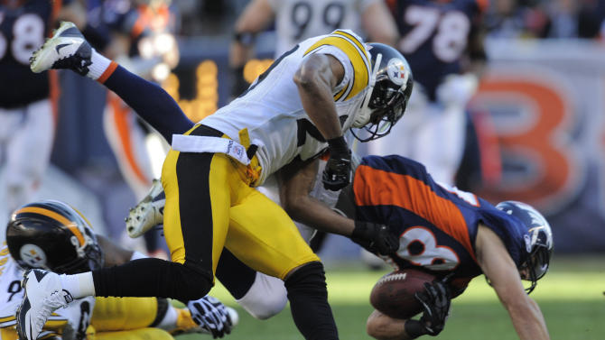 Denver Broncos wide receiver Eric Decker (87) comes down with a pass and is injured on the play against the Pittsburgh Steelers in the second quarter of an NFL wild card playoff football game Sunday, Jan. 8, 2012, in Denver.  (AP Photo/Jack Dempsey)